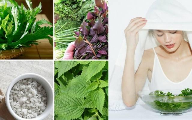 xông hơi trị mụn bằng thuốc nam từ ngải cứu, muối, lá tía tô và kinh giới