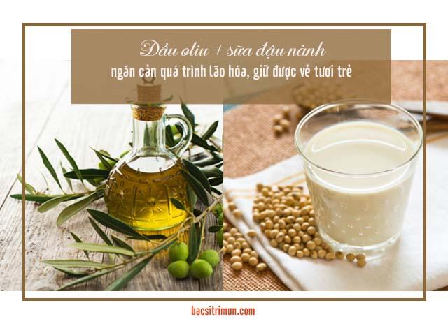 mặt nạ sữa đậu nành và dầu oliu