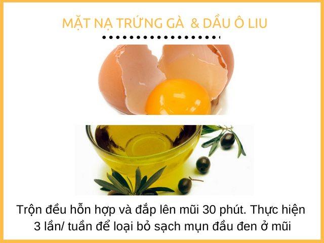 Cách trị mụn đầu đen ở mũi tại nhà bằng trứng gà và dầu ô liu