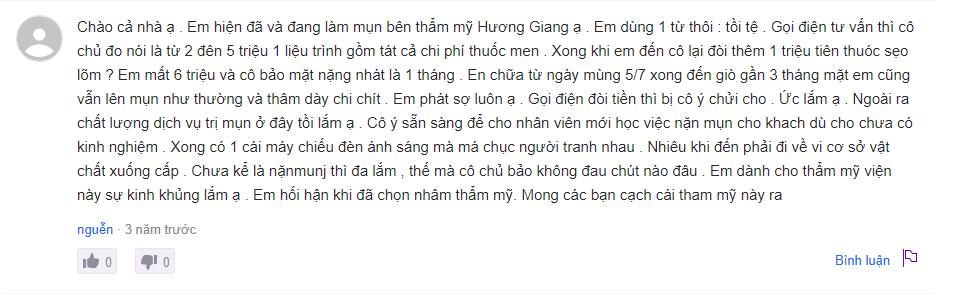 trị mụn ở thẩm mỹ viện Hương Giang đánh giá