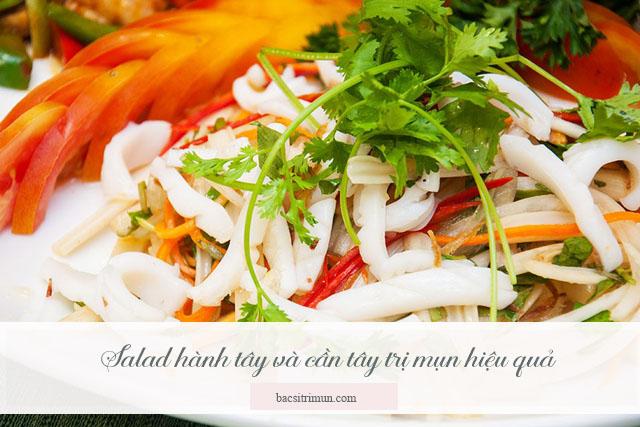 món ăn trị mụn salad hành tây cần tây