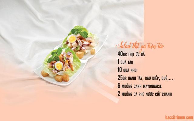 salad thịt gà trộn táo món ăn trị mụn