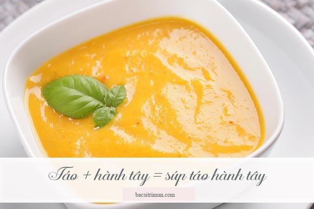 súp táo hành tây là món ăn trị mụn rất tốt