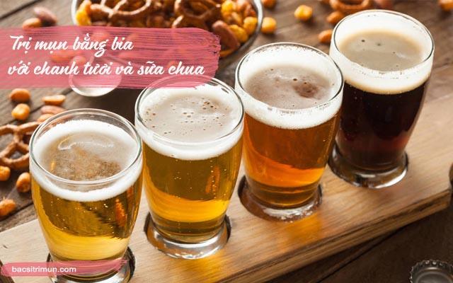 cách trị mụn bằng bia chanh và sữa chua