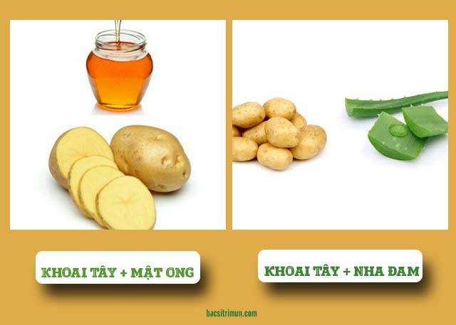 mặt nạ khoai tây trị mụn với mật ong và nha đam