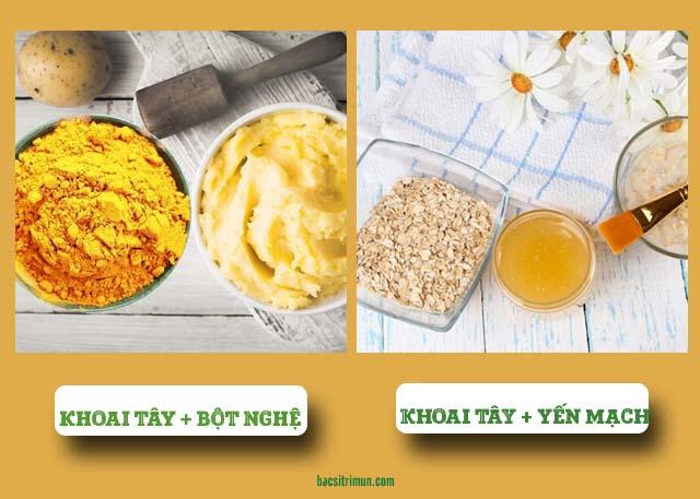 mặt nạ khoai tây trị mụn cùng bột nghệ và yến mạch