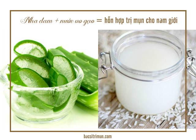 trị mụn cho nam giới bằng nha đam và nước vo gạo