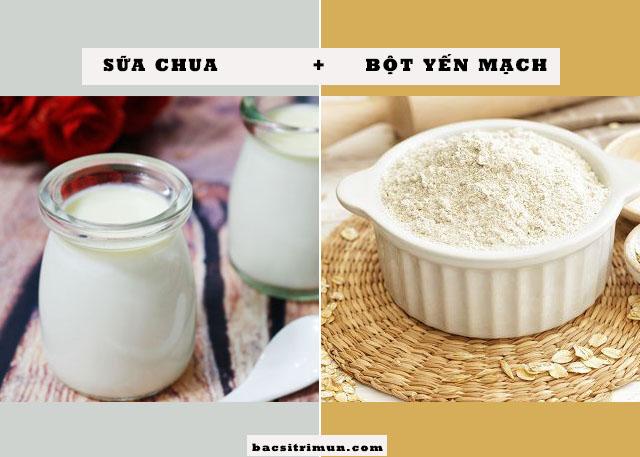 cách trị mụn bằng sữa chua và bột yến mạch