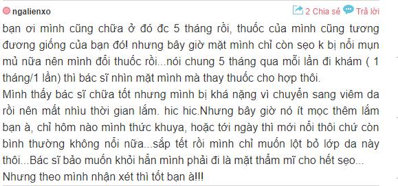 phàn hồi về địa chỉ trị mụn uy tín ở Hà Nội
