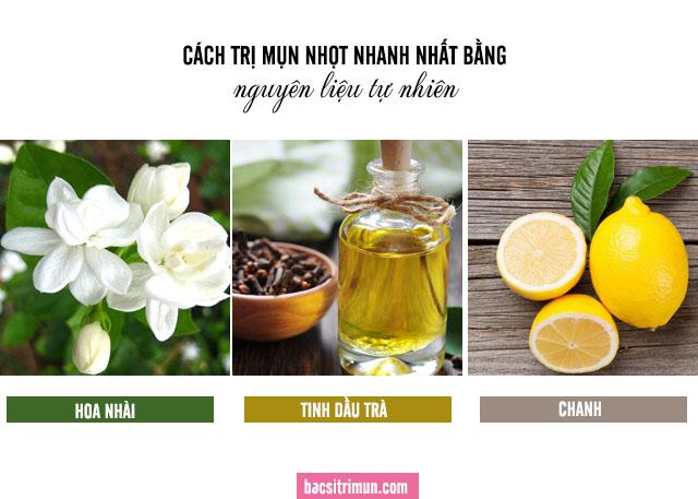 cách trị mụn nhọt bằng hoa nhài, tinh dầu trà và chanh