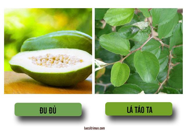 cách trị mụn nhọt bằng đu đủ và lá táo ta