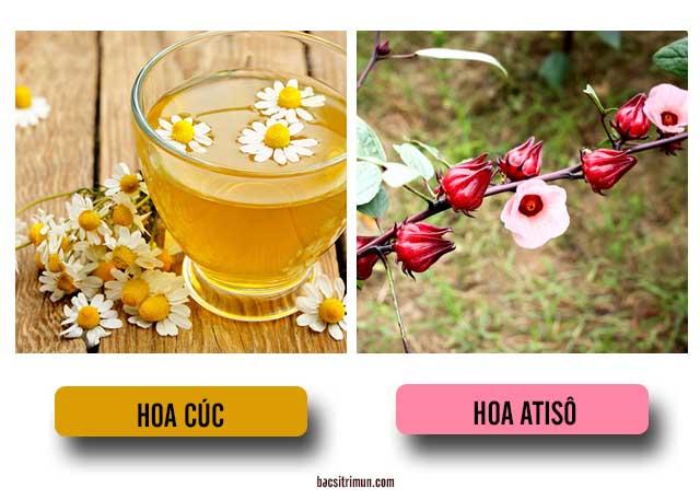 cách trị mụn ở cằm bằng hoa cúc và hoa atiso