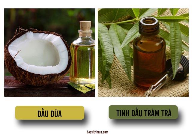 trị mụn đầu đen cấp tốc bằng dầu dừa và tinh dầu tràm trà
