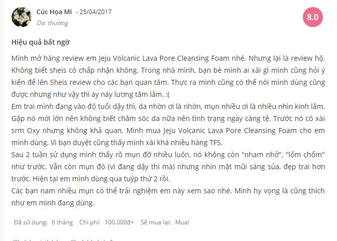 sửa rửa mặt trị mụn đầu đen The Face Shop Jeju Volcanic Lava Pore Cleansing Foam