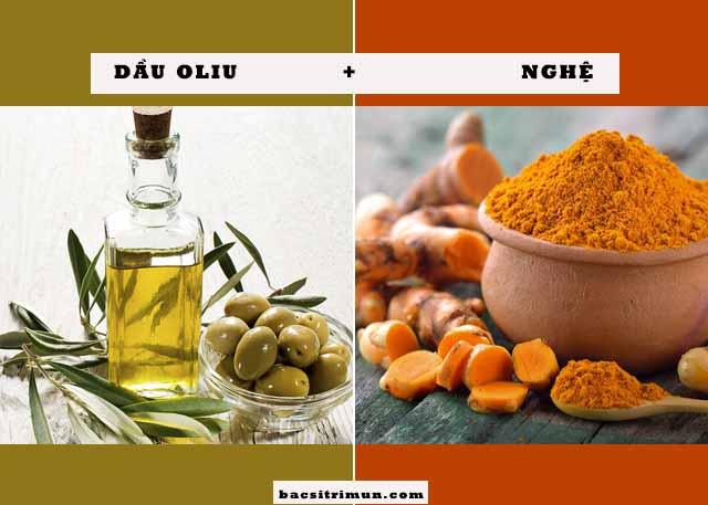nghệ và dầu oliu trị mụn