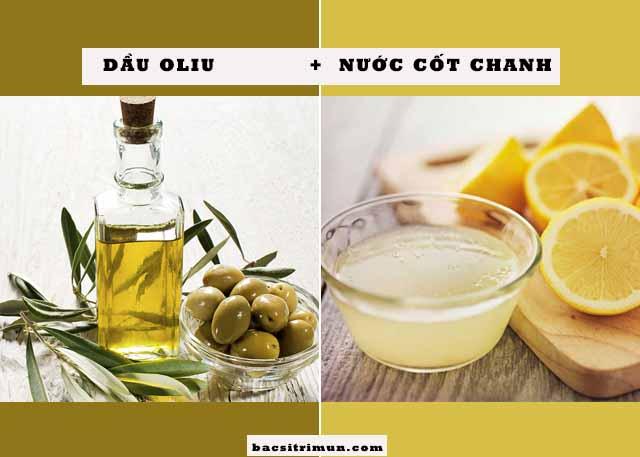 nước cốt chanh và dầu oliu trị mụn