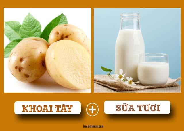 mặt nạ trắng da tự nhiên từ khoai tây và sữa tươi