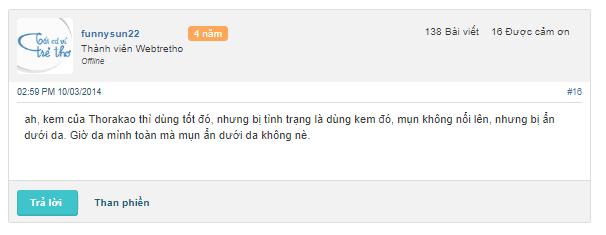 đánh giá kem trị mụn Thorakao