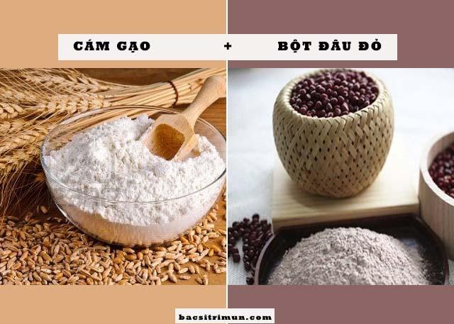 cám gạo và bột đậu đỏ trị mụn