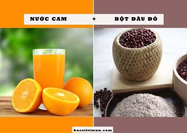 Cách trị mụn bằng bột đậu đỏ và nước cam