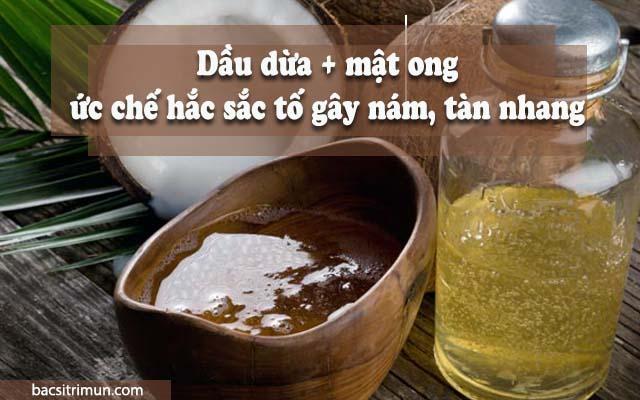cách trị tàn nhang bằng dầu dừa và mật ong