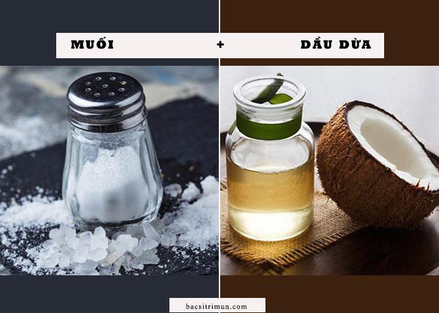 Làm trắng da bằng muối dầu dừa
