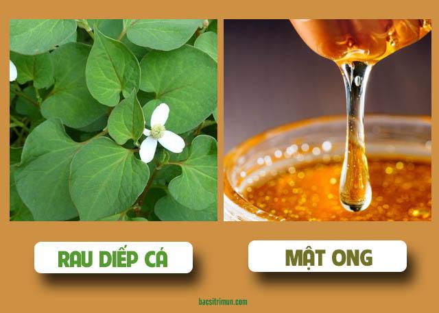 trị mụn bằng rau diếp cá và mật ong