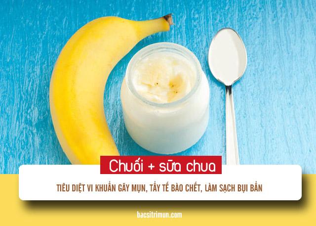 cách trị mụn bằng chuối và sữa chua