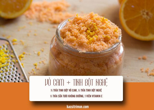 cách trị mụn bằng vỏ cam và tinh bột nghệ