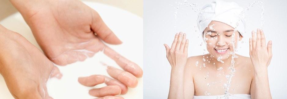 Rửa mặt bằng sữa tươi trị mụn