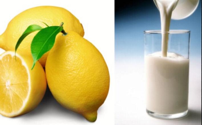 Rửa mặt bằng sữa tươi kết hợp với chanh trị mụn