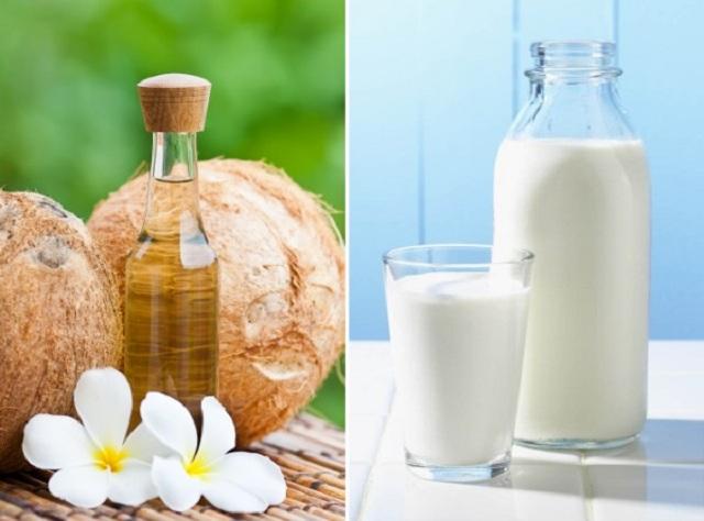 cách trị mụn bằng sữa tươi và dầu dừa
