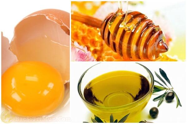 Cách trị mụn đầu trắng bằng mật ong, lòng trắng trứng và dầu oliu