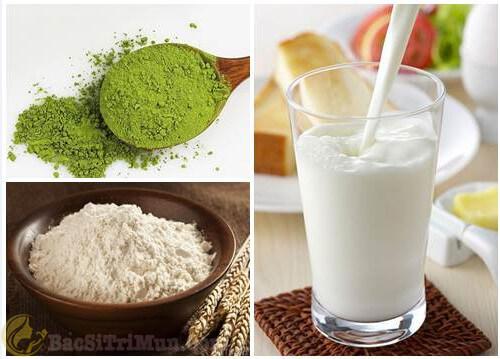 Trị mụn đầu trắng bằng trà xanh, sữa tươi và bột gạo