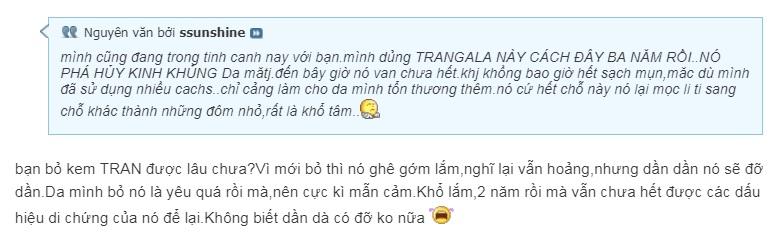 review kem trị mụn Trangala
