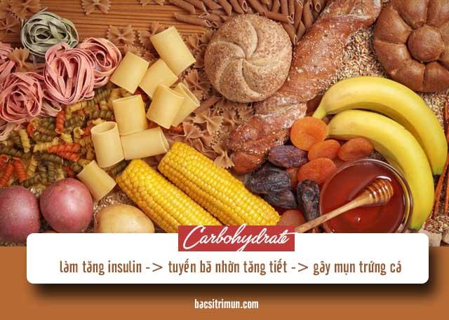 kiêng ăn gì khi bị mụn trứng cá: carbohydrate
