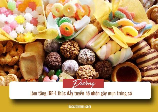 kiêng ăn gì khi bị mụn trứng cá: đường