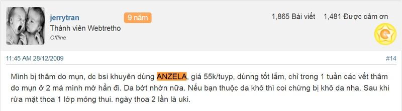 kem trị mụn thâm anzela của korea có tốt không
