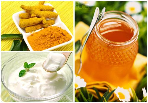 Mật ong, sữa chua, tinh bột nghệ điều trị mụn trứng cá bọc