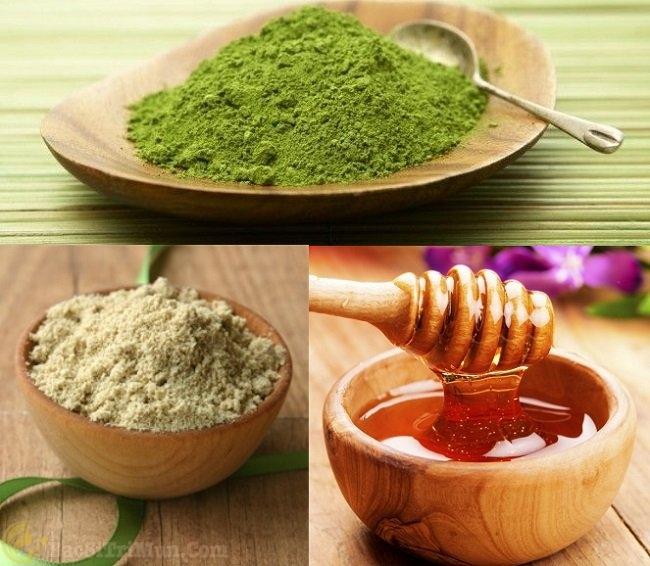 Trà xanh, mật ong, bột cám gạo điều trị mụn trứng cá bọc