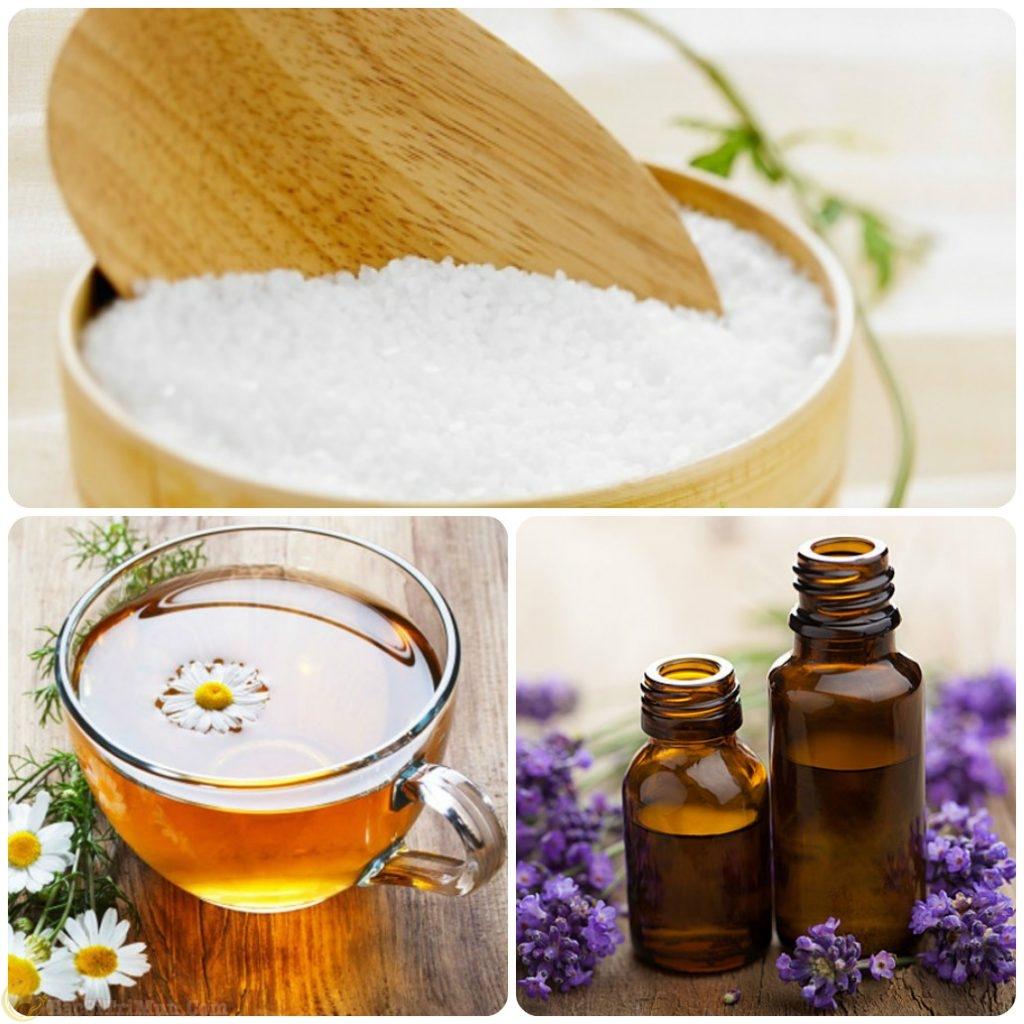 Muối biển, mật ong, tinh dầu oải hương điều trị mụn lưng