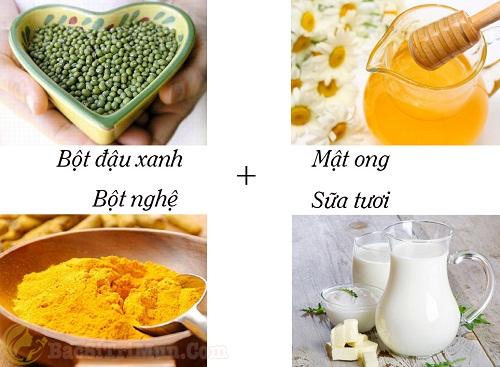 Chăm sóc da mặt sau sinh bằng tinh bột nghệ + bột đậu xanh + mật ong + sữa tươi