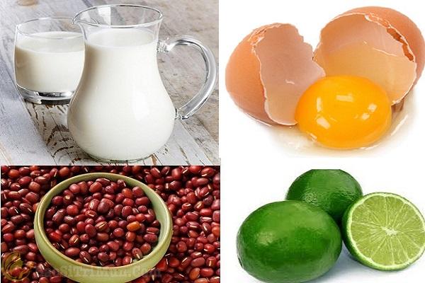 Sữa tươi + Trứng gà + Bột đậu đỏ + Chanh
