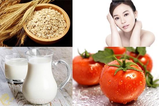 Trị mụn ẩn dưới da bằng bột yến mạch, cà chua và sữa tươi