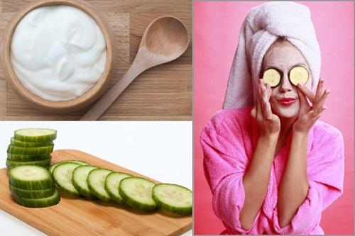 Dưa leo và sữa chua - Cách trị mụn ở trán tại nhà hiệu quả
