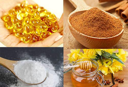 Bột cám gạo, bột quế, mật ong, vitamin E trị hết thâm mụn
