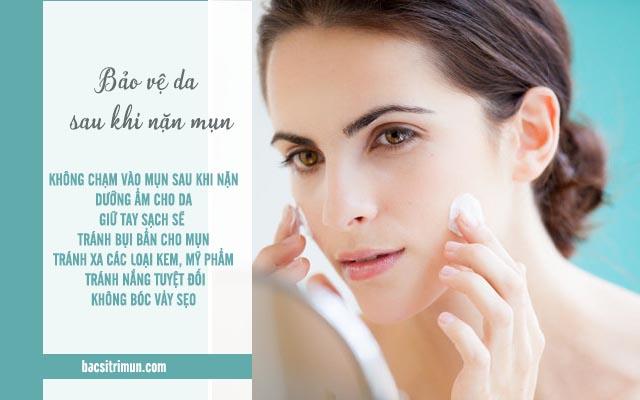 bảo vệ da - bước chăm sóc da sau khi nặn mụn không thể thiếu