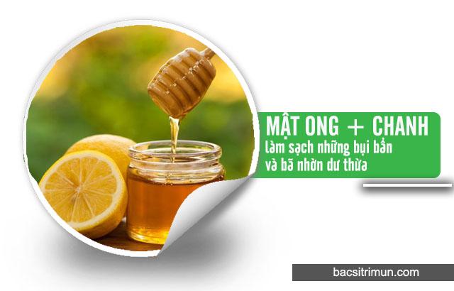 mật ong và chanh trị mụn cho da dầu