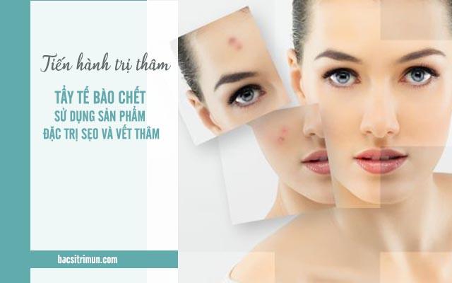 trị thâm chăm sóc da sau khi nặn mụn