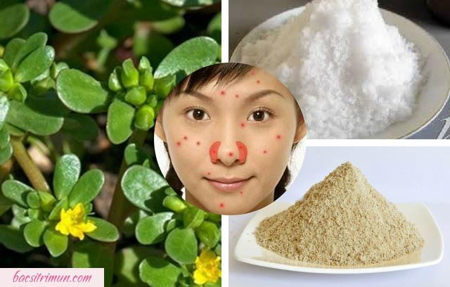 cách trị mụn bằng rau sam, muối và cám gạo